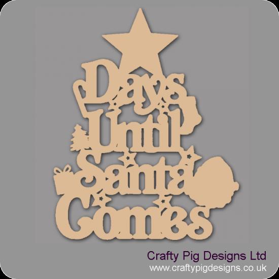 3mm MDF Days Until Santa Comes (Star Top) Chalkboard Countdown Plaques