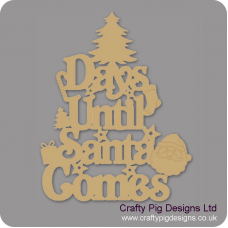 3mm MDF Days Until Santa Comes (Xmas Tree Top) Chalkboard Countdown Plaques