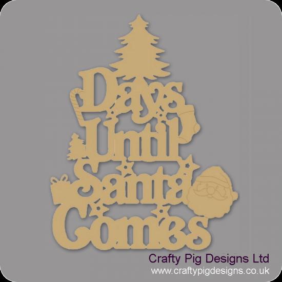 3mm MDF Days Until Santa Comes (Xmas Tree Top) Chalkboard Countdown Plaques