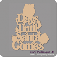3mm MDF Days Until Santa Comes (Pudding Top) Chalkboard Countdown Plaques