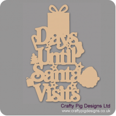 3mm MDF Days Until Santa Visits (Gift Box Top) Chalkboard Countdown Plaques
