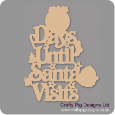 3mm MDF Days Until Santa Visits (Pudding Top) Chalkboard Countdown Plaques