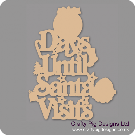 3mm MDF Days Until Santa Visits (Pudding Top) Chalkboard Countdown Plaques