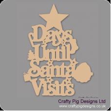 3mm MDF Days Until Santa Visits (Star Top) Chalkboard Countdown Plaques