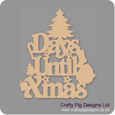 3mm MDF Days Until Xmas (xmas tree top) Chalkboard Countdown Plaques
