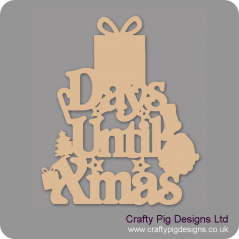 3mm MDF Days Until Xmas (gift box top) Chalkboard Countdown Plaques