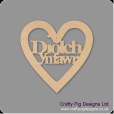 3mm MDF Diolch Ynfawr Heart Hearts With Words