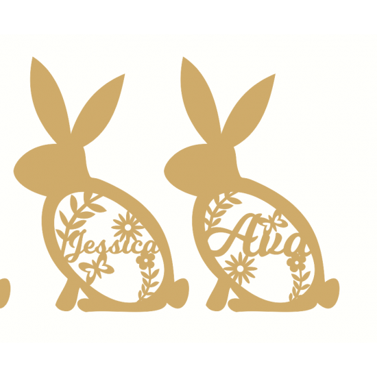 3mm mdf Floral Bunny (with custom name option) Easter