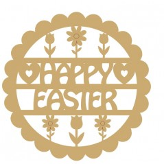 3mm mdf Happy Easter Scalloped Circle with Flowers Easter