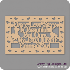 3mm MDF Rectangular Box Topper - Every Love Story Is Beautiful...personalised with name & heart cut out border Personalised and Bespoke