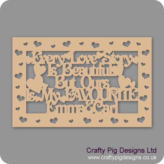 3mm MDF Rectangular Box Topper - Every Love Story Is Beautiful...personalised with name & heart cut out border
