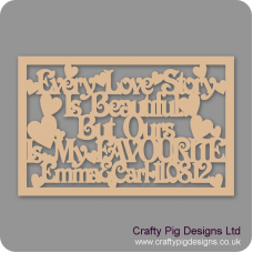 3mm MDF Rectangular Box topper - Every Love Story Is Beautiful...  - personalised with name & date Personalised and Bespoke