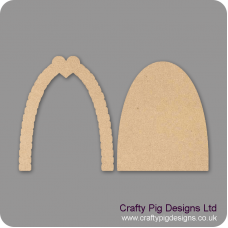 3mm MDF Fairy Door With Heart Topped Cobbled Arch (2 pieces) Fairy Doors and Fairy Shapes