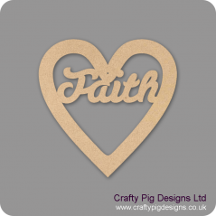 3mm MDF Christmas Heart With Faith In Susa Font Christmas Shapes