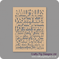 3mm MDF Family Rules (new cut out version) Quotes & Phrases