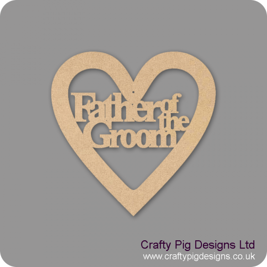 3mm MDF Father of the Groom Wedding Heart