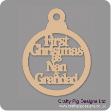 3mm MDF First Christmas As Nan & Grandad Bauble Christmas Baubles