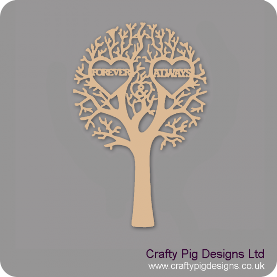 """3mm MDF """"FOREVER & ALWAYS"""" - Cut Out Tree Trees Freestanding, Flat & Kits"""