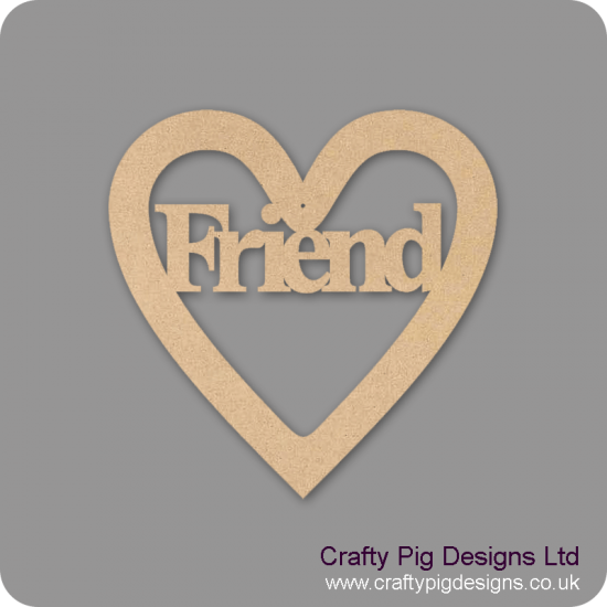 3mm MDF Friend Heart Hearts With Words