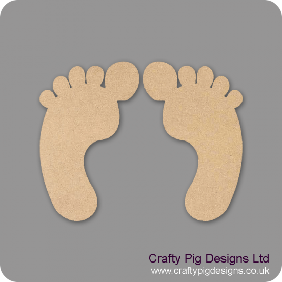 3mm MDF Funny Feet (pack of 5 pairs)(3cm) Baby Shapes