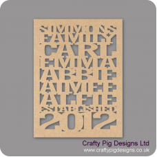 3mm MDF Family Name Plaque with border Personalised and Bespoke