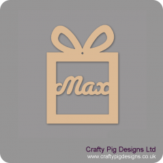 3mm MDF Gift Box Present Shape Decoration - Personalised With Your Name - susa font Christmas Shapes