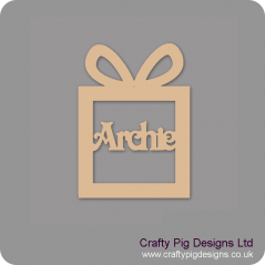 3mm MDF Gift Box Present Shape Decoration - Personalised With Your Name - victorian font Christmas Shapes