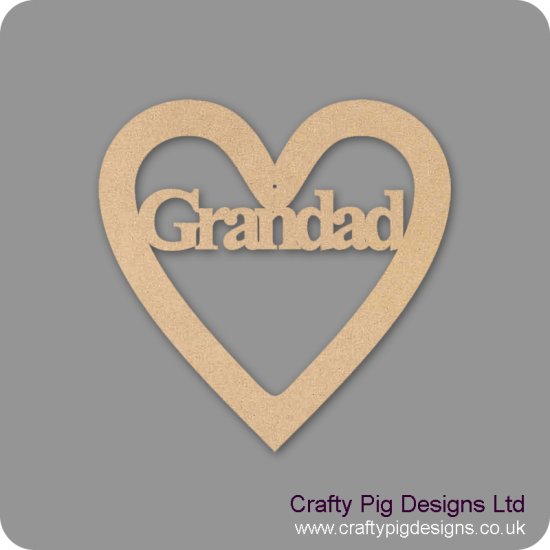 3mm MDF Grandad Heart