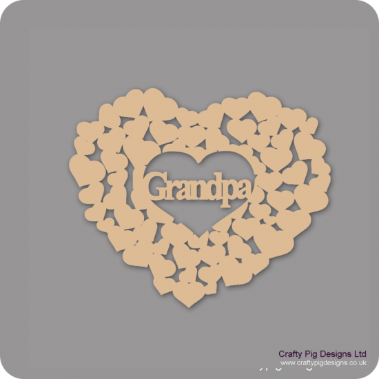 3mm MDF Grandpa Heart Of Hearts Hearts With Words