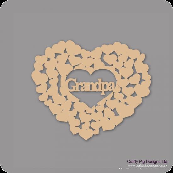 3mm MDF Nan/Nana/Love/Mum/Dad/Grandpa/Grandad/Grandma/Family/Mummy/Mamo in a heart of hearts Mother's Day
