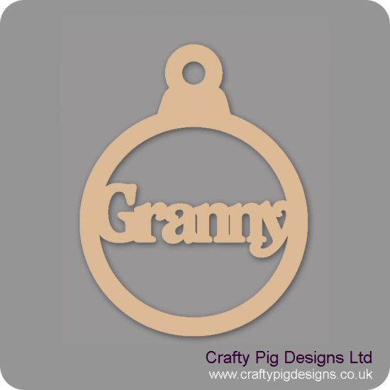 3mm MDF Granny bauble Christmas Baubles