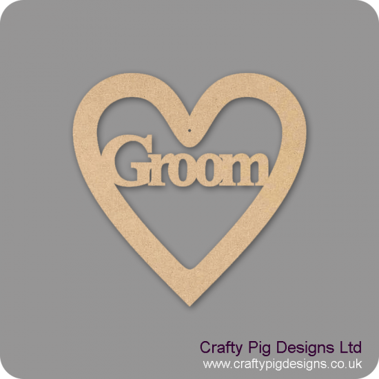 3mm MDF Groom Wedding Heart
