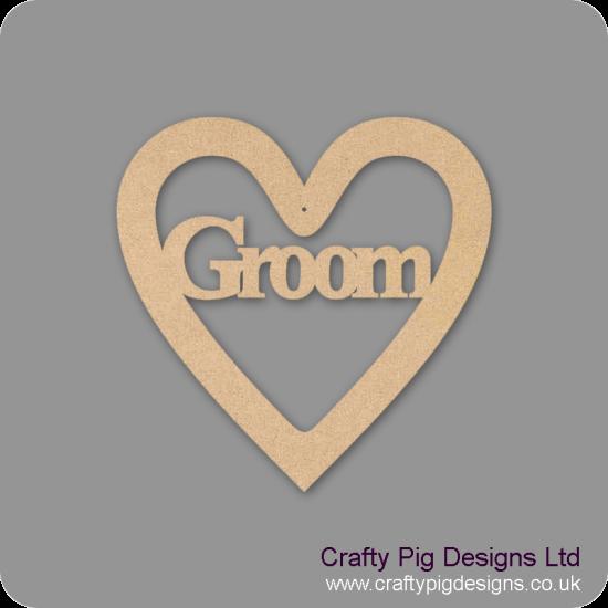 3mm MDF Groom Wedding Heart Hearts With Words