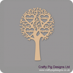 "3mm MDF ""GROWING, LOVING, LAUGHING, TOGETHER - Cut Out Tree"