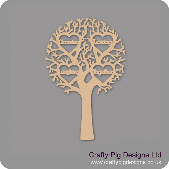 """3mm MDF """"GROWING, LOVING, LAUGHING, TOGETHER - Cut Out Tree  Trees Freestanding, Flat & Kits"""