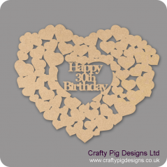 3mm MDF Happy 30th Birthday Heart Of Hearts Hearts With Words
