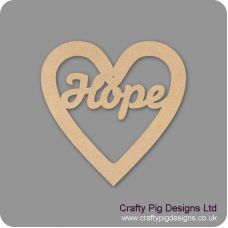 3mm MDF Christmas Heart With Hope In Susa Font Christmas Shapes