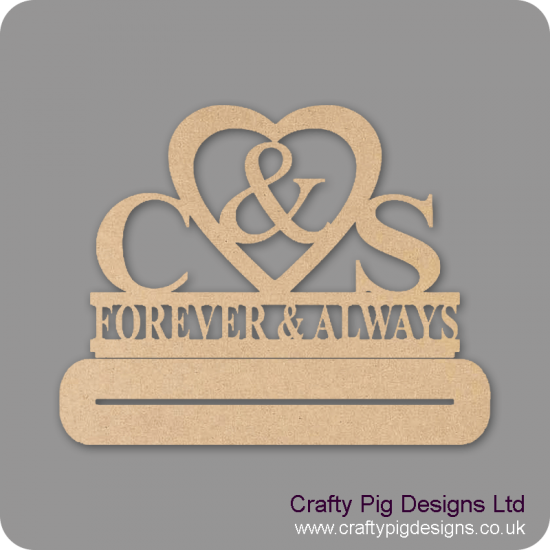 4 or 6mm MDF Freestanding Wedding/Anniversary Plinth - Personalised with First Initials - Forever & Always Personalised and Bespoke