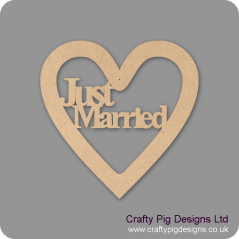 3mm MDF Just Married Times New Roman Font Heart (without bells) Hearts With Words