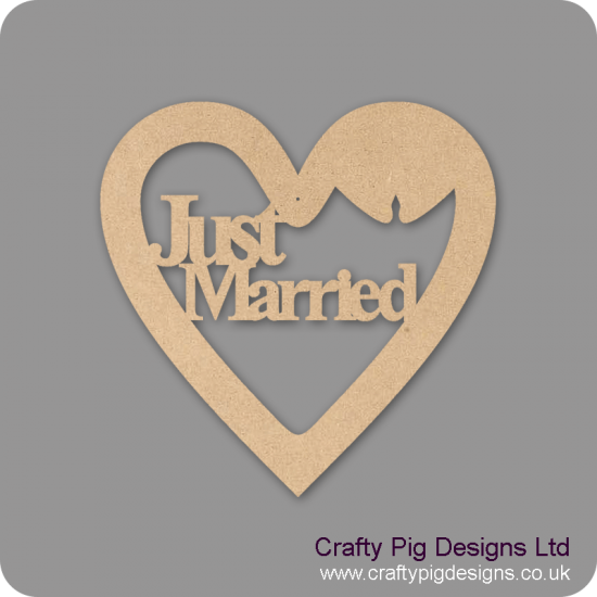 3mm MDF Just Married Times New Roman Font Heart ( with bells) Hearts With Words