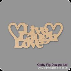 3mm MDF LIVE LAUGH  LOVE hanging plaque in cooper font Valentines