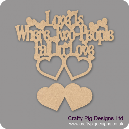 3mm MDF Love Is Where Two People Fall In Love (photo frame design) Valentines