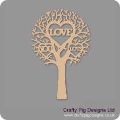 "3mm MDF ""LOVE YOU LOTS"" - Cut Out Tree  Trees Freestanding, Flat & Kits"