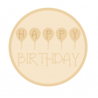 3mm mdf Layered Circle - Happy Birthday with Balloons