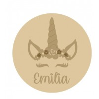 3mm mdf Circle with Unicorn Flower Crown and Name