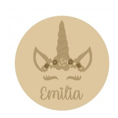 3mm mdf Circle with Unicorn Flower Crown and Name Personalised and Bespoke