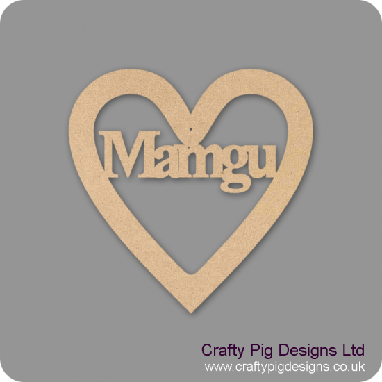 3mm MDF Mamgu Heart Hearts With Words