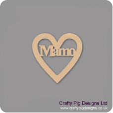 3mm MDF Mamo - Heart With Word In Hearts With Words