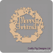 3mm MDF Merry Christmas Door Wreath (with shapes) Christmas Shapes