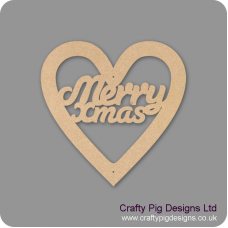 3mm MDF Christmas Heart With Merry Xmas In Susa Font Christmas Shapes